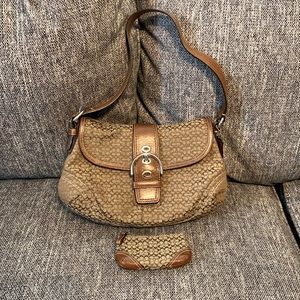 Coach Hobo Flap Signature Canvas Suede Leather Bag & Keychain Wallet Set